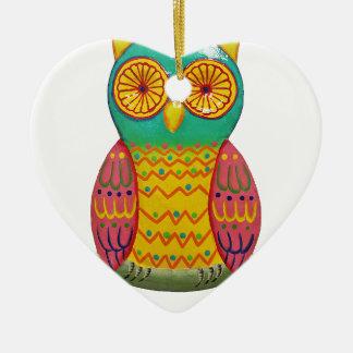 colorful retro style owl design ceramic heart decoration