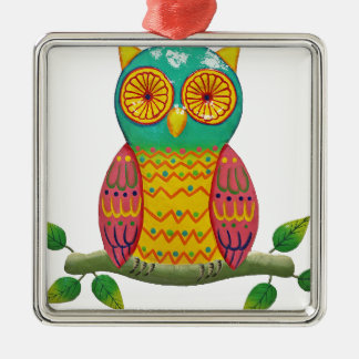 colorful retro style owl design christmas ornament