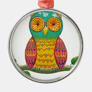 colorful retro style owl design Silver-Colored round decoration
