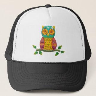 colorful retro style owl design trucker hat
