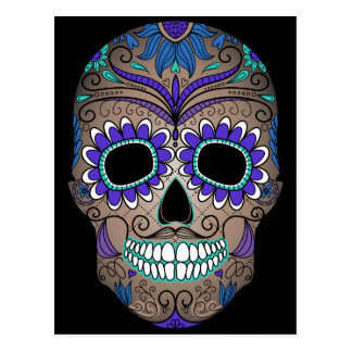 Colorful Retro Sugar Skull Postcard