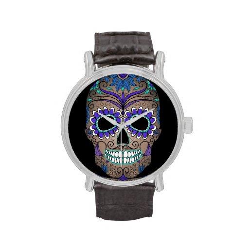 Colorful Retro Sugar Skull Wristwatches