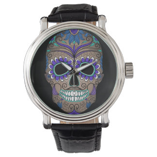 Colorful Retro Sugar Skull Wrist Watches