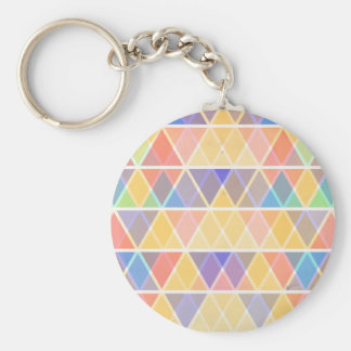 Colorful retro triangle pattern basic round button key ring