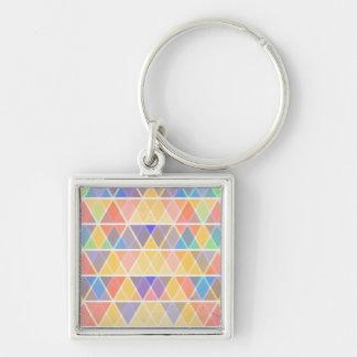 Colorful retro triangle pattern Silver-Colored square key ring
