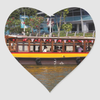 Colorful river cruise boat in Singapore Heart Sticker
