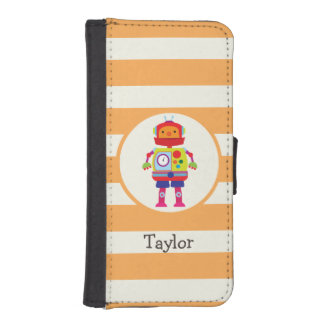Colorful Robot on Orange Stripes iPhone 5 Wallets
