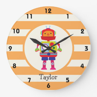 Colorful Robot on Orange Stripes Wall Clocks