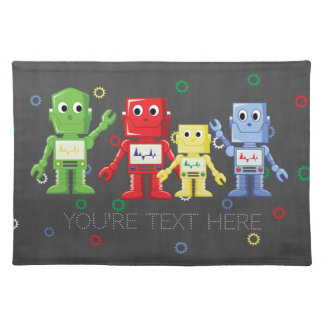 Colorful robots illustration placemat