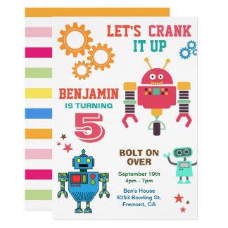 Colorful Robots Kids Birthday Party Invitation