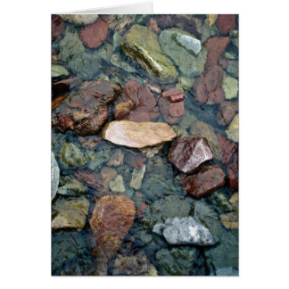 Colorful rocks in stream bed, Running Eagle Falls, Greeting Card