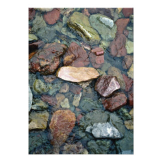 Colorful rocks in stream bed, Running Eagle Falls, Custom Announcements