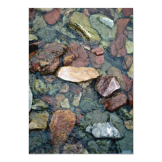 Colorful rocks in stream bed, Running Eagle Falls, 5x7 Paper Invitation Card