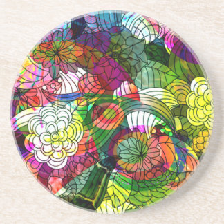Colorful Romantic Floral Collage Coaster