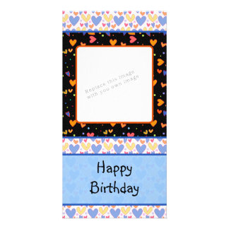 Colorful romantic heart design personalised photo card