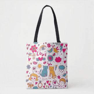 Colorful romantic pattern tote bag