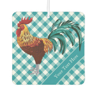 Colorful Rooster and Teal Gingham
