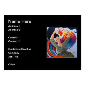 Colorful Rooster and Woman Business Cards