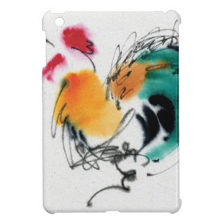Colorful Rooster. Calligraphy and watercolor. iPad Mini Cover