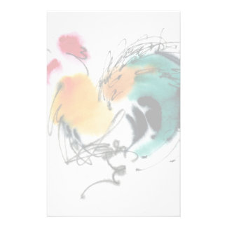 Colorful Rooster. Calligraphy and watercolor. Personalized Stationery