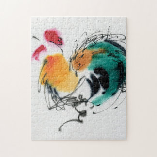 Colorful Rooster. Calligraphy and watercolor. Puzzles