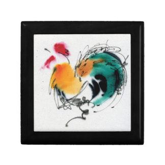 Colorful Rooster. Calligraphy and watercolor. Small Square Gift Box