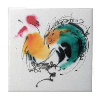 Colorful Rooster. Calligraphy and watercolor. Small Square Tile