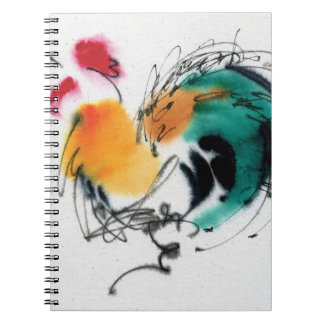 Colorful Rooster. Calligraphy and watercolor. Spiral Notebook