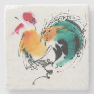 Colorful Rooster. Calligraphy and watercolor. Stone Coaster