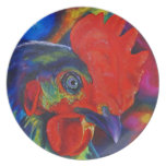 Colorful Rooster Dinner Plates