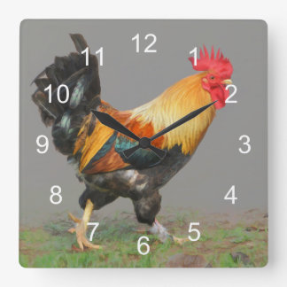 Colorful Rooster, Nature's Alarm Wall Clock