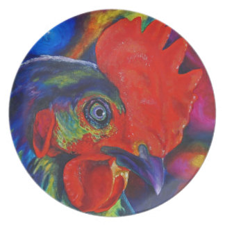 Colorful Rooster Plate