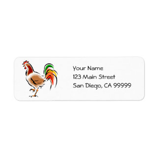 Colorful Rooster Return Address Label
