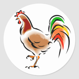 Colorful Rooster Round Sticker