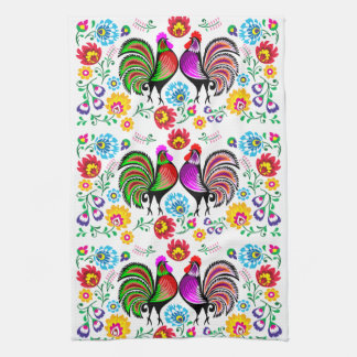 Colorful Roosters Boho Pattern Tea Towel