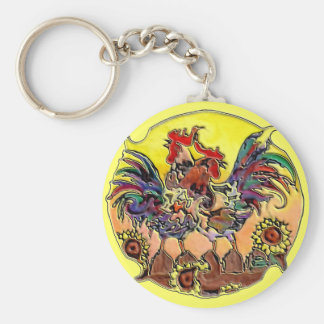 COLORFUL ROOSTERS by SHARON SHARPE Basic Round Button Key Ring