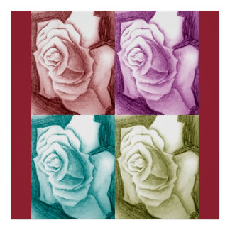 colorful rose art poster