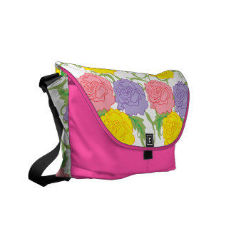 Colorful Roses and Vines Courier Bag