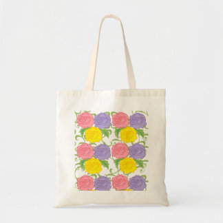 Colorful Roses and Vines Canvas Bags