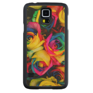 Colorful roses carved maple galaxy s5 case