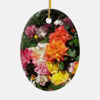 Colorful Roses Ceramic Oval Decoration
