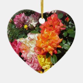 Colorful Roses Ceramic Heart Decoration