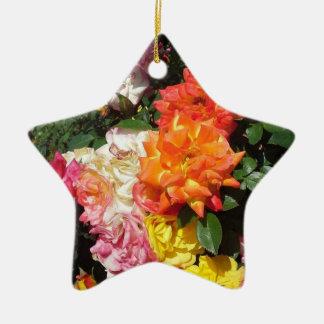 Colorful Roses Ceramic Star Decoration