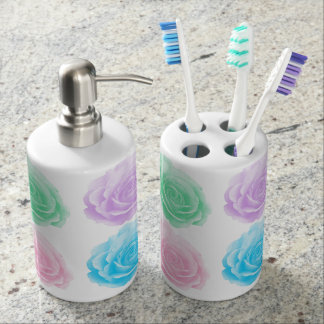 Colorful roses pattern bathroom set