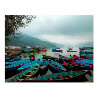 Colorful Row Boats on Phewa Lake in Pokhara Nepal Postcard