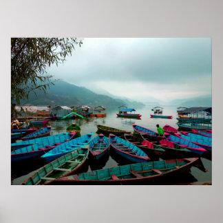 Colorful Row Boats on Phewa Lake in Pokhara Nepal Poster