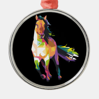 Colorful Running Horse Stallion Equestrian Christmas Ornament