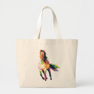 Colorful Running Horse Stallion Equestrian Large Tote Bag