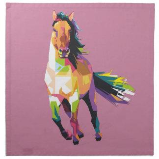 Colorful Running Horse Stallion Equestrian Napkin