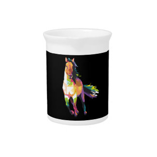 Colorful Running Horse Stallion Equestrian Pitcher